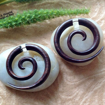 "Fake Gauge Earrings, ""Full Spirals"" Small Size, Naturally Organic, Sono Wood, Hand Carved, Tribal"