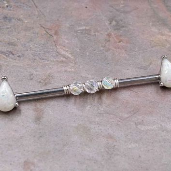White Opal Beaded Industrial Barbell