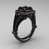 Modern Art Nouveau 14K Black Gold 1.23 Carat Princess Black Diamond Engagement Ring, Wedding Ring R336-14KBGBD