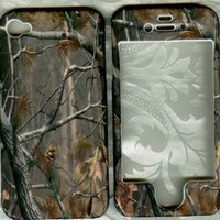 Real tree camo rubberized apple iPhone 4 4G faceplate snap hard cover case