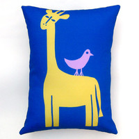Giraffe with Bird Gold Blue Pillow Cover 12 by 16 inch, Decorative Throw Pillow Cover, Cushion Cover, Sham