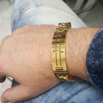 4-4259-h3 Gold Plated over Stainless Steel Cross ID Bracelet for Men