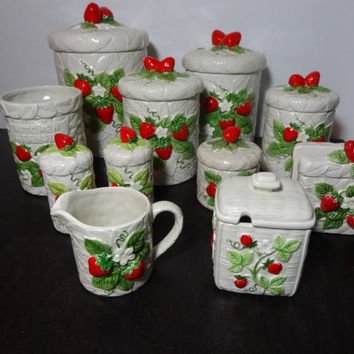 Vintage Sears Roebuck and Co. Country Strawberry Ceramic Canister Set  - S & P /Napkin Holder /Cream and Sugar Set /Utensil Jar - Set of 11