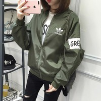 """Adidas"" Women Casual Letter Long Sleeve Loose Zip Cardigan Sunscreen Clothes Coat"