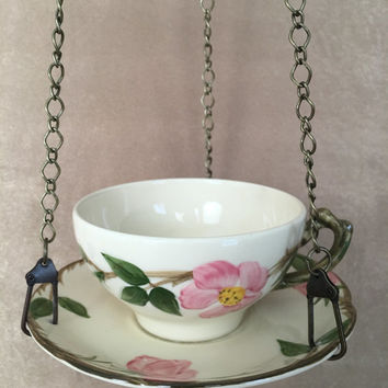 Hanging Bird feeder, Teacup Bird Feeder, Franciscan Pottery, Desert Rose, Recycled Vintage, Outdoor Enthusiast, Shabby Style, Gardening Gift