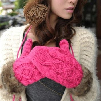 New Winter Warm Woolen Yarn Gloves Women Cute Knitting Female Cotton Multi-color Mittens guantes mujer luvas Female luva
