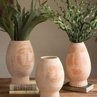 Set Of 3 Clay Face Vases