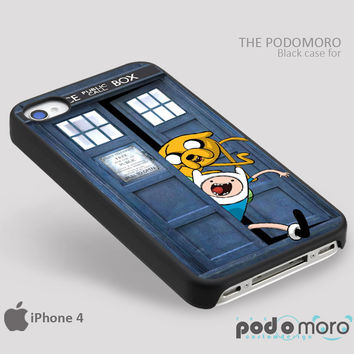 Adventure Time Jake And Finn Tardis Doctor Who Run Away for iPhone 4/4S, iPhone 5/5S, iPhone 5c, iPhone 6, iPhone 6 Plus, iPod 4, iPod 5, Samsung Galaxy S3, Galaxy S4, Galaxy S5, Galaxy S6, Samsung Galaxy Note 3, Galaxy Note 4, Phone Case