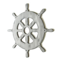 Captains Wheel Wall Decor rustic nautical wall hanging hand painted in greys, available in custom colors, shabby ships wheel