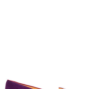 Charlotte Olympia Purple And Pink Studded Kitty Flats