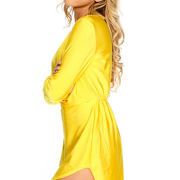 Sexy Marigold Draped High Low Short Party Dress