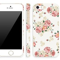 iPhone 5s floral Case for girl, Akna Retro Floral Series Vintage Flower Pattern Rubber Coating Back Case for iPhone 5 5S (Berlin Black)(U.S)
