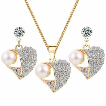 Romantic Heart Pattern Pearl Crystal Earrings Necklace Set Gold Color Chain Jewelry Sets Wedding Jewelry Valentines Gift GHZTYF