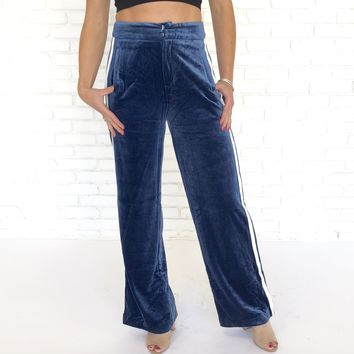 Velour Velvet Stripe Pants In Blue