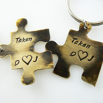 Taken Set of TWO, Personalized Puzzle Piece Set, Puzzle Pieces, Puzzle Piece Keychain Set of 2