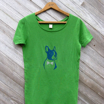 you handsome devil Boston Terrier Organic Tshirt in Green, S,M,L,XL