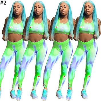Champion tide brand female gradient letter printing sports suit two-piece #2