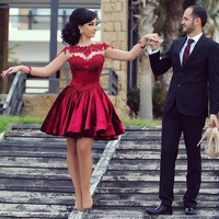 Red Homecoming Dresses with A-line Long Sleeves Appliques Beaded Satin Tulle for Girls
