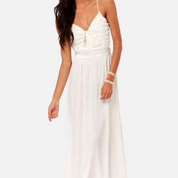 LULUS Exclusive Veranda Views Ivory Backless Maxi Dress