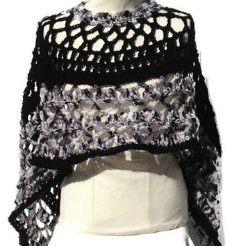 Black and White Circular Asymmetric Long Poncho Shawl Handmade Unbalanced Design Hand Crocheted Ready To Ship