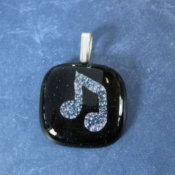 Silver Music Note Pendant, Fused Glass Jewelry, Musical Jewelry - Melody - 4495 -3