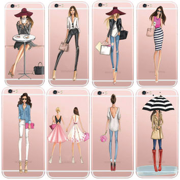 Cases For iPhone 6 6s Plus 6Plus Fashionable Dress Shopping Modern Girls Painted TPU Transparent Clear Soft Silicon Phone Cover
