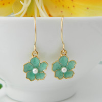 Cherry Blossom Earrings Blue Flower Earrings by DanglingJewelry