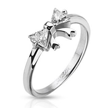 Ribbon with Double Pronged Trilliant Cut CZ Ring Stainless Steel