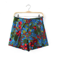 Women's Fashion Green Print Casual Pants Shorts [4918011780]
