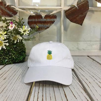 New Pineapple Embroidered White Polo Baseball Cap Low Profile Curved Bill d1909ac4dba
