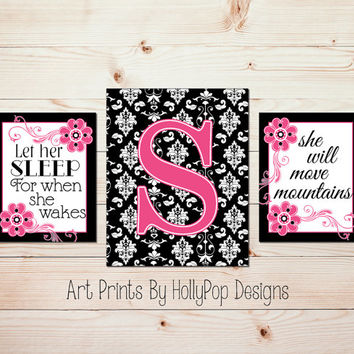 Hot Pink Black Wall Art Girls Room Wall Decor Baby Girl Nursery Black Damask Art Prints Let Her Sleep Quote Toddler Girls Room Artwork #1258