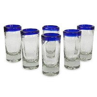 NOVICA Artisan Crafted Hand Blown Clear Blue Rim Recycled Glass Shot Glasses, 2 oz. 'Tequila Blues' (set of 6)