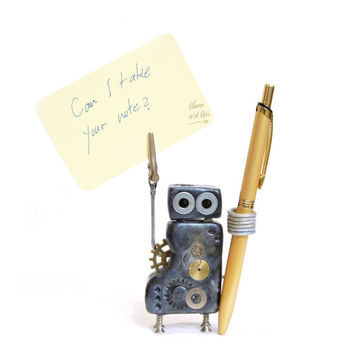 Note Robot V03 Note and Pen Holder Photo Holder Desk Companion Desk Organiser Kawaii Geekery Desk Decor