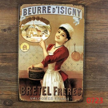 """""""Beurre isigny""""! vintage metal signs retro tin sign iron painting the wall decoration for kitchen dessert shop cafe bar pub home"""