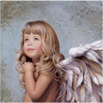 Hand painted acrylic oil paintings wall pictures for living room Coloring by numbers cuadros decoracion The Wing Angel girl