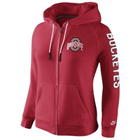 Ohio State Buckeyes Nike Womens Rally Full Zip Hoodie - Scarlet