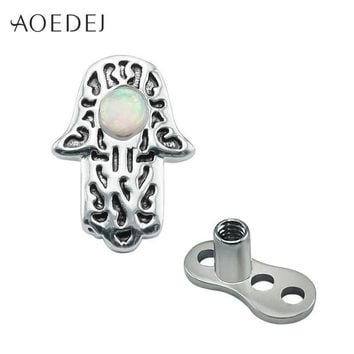 ac DCCKO2Q AOEDEJ Hamsa Fatima Hand Dermal Anchor Piercing Jewelry Surgical Steel Fire Opal Natural Stone Skin Retainers Hide It Jewelry