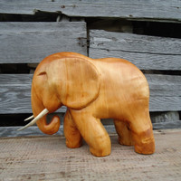 Wooden Elephant - African Decor - Hand carved sculpture - Animal sculpture - Wood Animal - Baby Elephant - African art - Wooden sculpture