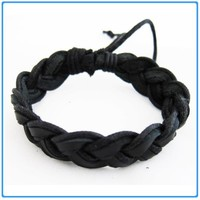 Trendy Twisted Black Leather Unisex Bangle/Bracelet