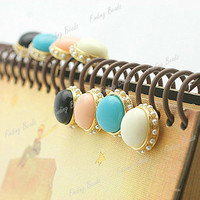 Lovely Cute Lady Girl Round Candy Ball Pearl Edge Ear Stud Earrings 1.6x1.6cm