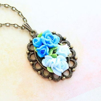 Polymer Clay Pendant, blue rose pendant, Hand Made Necklace, Polymer Clay Inlay Jewelry, 3D Flower Pendant, Gift For Her