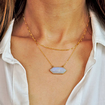 Gold Moonstone Necklace, Hexagon Necklace, Double Point Pendant,Moonstone Layer Necklace,  Moonstone Pendant, Gold Layer Necklace