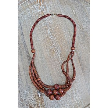 Vintage 1970s Handmade + Wooden Layer Necklace