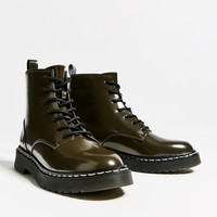 MILITARY FLAT ANKLE BOOTS - URBAN LINES-TRF | ZARA United Kingdom