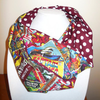 Marvel Comics Scarf - Infinity Scarf - Cotton Polka Dots Maroon - Woman Teen or Pre-teen or Girl - Vintage Comic Book Cover Print