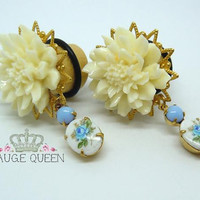 "Plugs / Gauges. Ivory Peony & Vintage Blue Rose Dangle. 2g / 6mm, 0g / 8mm, 00g / 10mm, 1/2"" / 12mm, 9/16"" / 14mm, 5/8"" / 16mm, 3/4"" / 19mm"