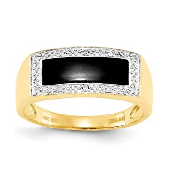 14k Yellow Gold Onyx & A Quality Diamond Mens Ring
