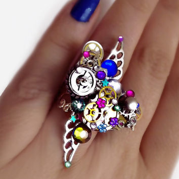 Steampunk ring, silver steampunk, filigree ring, boho ring, angel ring, magic ring, watch gear ring, moon ring, crystal star ring, OOAK