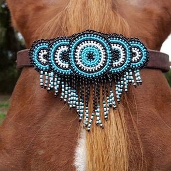 Blue Sunbursts Seed Beaded Equine Browband Ornament with Dangles -  Native American Style Horse Ornament