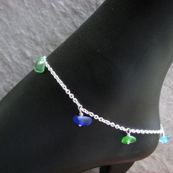 Sea Glass Charm Anklet